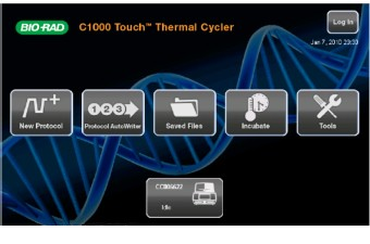 The LCD screen of the CFX96 Touch Deep Well qPCR system for easy naviagation and set up of experiments