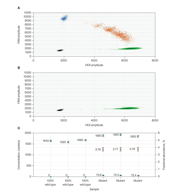 Quantification of BRAF V600E mutation in the presence of wild-type DNA using PrimePCR ddPCR assays