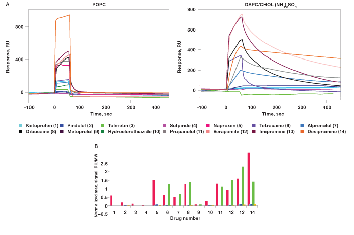 Sensorgrams and normalized maximum signals of interactions of the drugs and liposomes