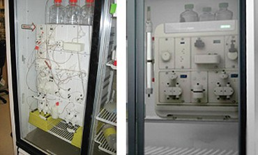 Foam model and final image of NGC chromatography system in a deli fridge