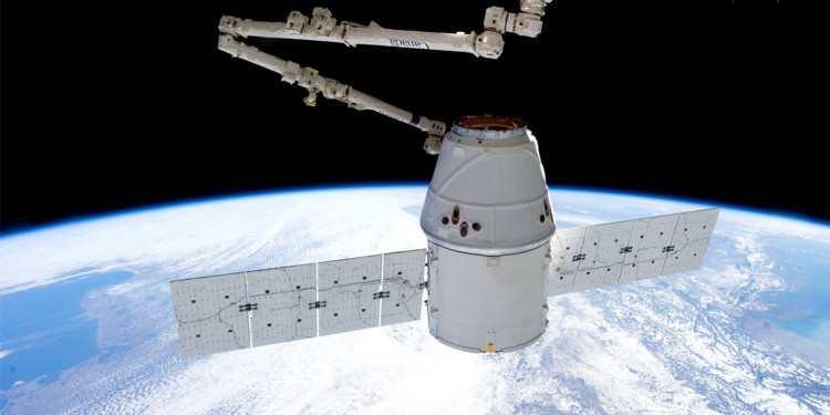 The SpaceX Dragon capsule that carried the microbial experiment that school students performed using Bio-Rad's pGLO bacterial transformation kit