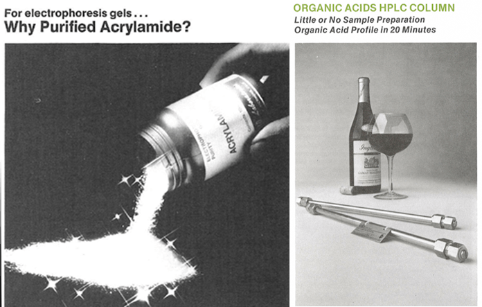 Acrylamide and organic acid HPLC column from the Seventies.