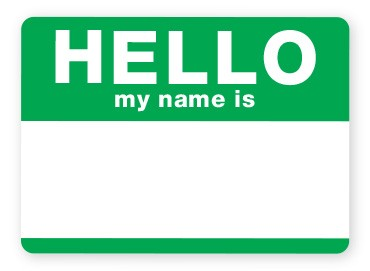 blank green name tag