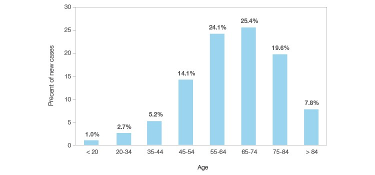 Figure 1. Percent of new cancer diagnoses by age group.